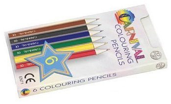 Carnival Colouring Pencils 6 Pack (Half Size)